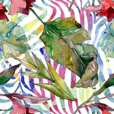 Foto de Exótico verano hawaiano tropical. Palmera árbol de playa deja botánico selva. Conjunto de ilustraciones de acuarela. Acuarela dibujo aquarelle. Patrón de fondo sin costuras. Textura de impresión de fondo de pantalla de tela. - Imagen libre de derechos