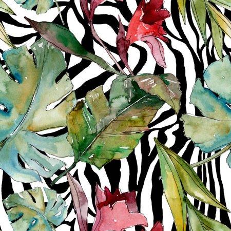 Foto de Verano hawaiano tropical exótico. Palmera deja la selva botánica. Juego de ilustración en acuarela. acuarela dibujo acuarela. Patrón de fondo sin costuras. Textura de impresión de papel pintado de tela . - Imagen libre de derechos