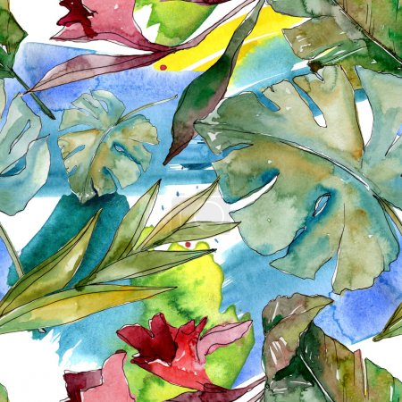 Photo pour Été hawaïen tropical exotique. Palm plage arbre feuilles jungle botanique. Ensemble d'illustration aquarelle. Aquarelle dessin aquarelle. Modèle de fond sans couture. Texture d'impression papier peint tissu . - image libre de droit