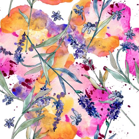 Photo for Lavender floral botanical flowers. Wild spring leaf wildflower. Watercolor illustration set. Watercolour drawing fashion aquarelle. Seamless background pattern. Fabric wallpaper print texture. - Royalty Free Image