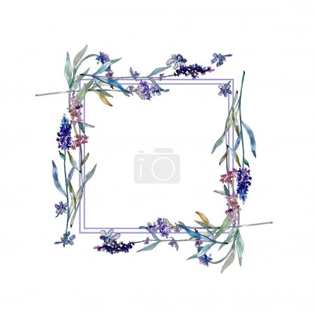 Photo for Lavender floral botanical flowers. Wild spring leaf wildflower isolated. Watercolor background illustration set. Watercolour drawing fashion aquarelle isolated. Frame border ornament square. - Royalty Free Image