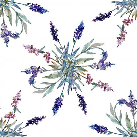 Foto de Flores botánicas florales de lavanda. Flor silvestre de la hoja de primavera wildflower. Conjunto de ilustraciones de acuarela. Acuarela dibujando moda acuarela. Patrón de fondo sin costuras. Textura de impresión de fondo de pantalla de tela. - Imagen libre de derechos