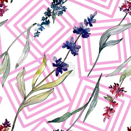 Photo pour Fleurs botaniques florales de lavande. Feuille de printemps sauvage fleur sauvage. Ensemble d'illustration aquarelle. Aquarelle dessin mode aquarelle. Modèle de fond sans couture. Texture d'impression papier peint tissu . - image libre de droit