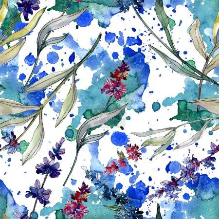 Foto de Lavanda flores botánicas florales. Flor silvestre de hoja de primavera. Juego de ilustración en acuarela. Acuarela dibujo moda aquarelle. Patrón de fondo sin costuras. Textura de impresión de papel pintado de tela . - Imagen libre de derechos
