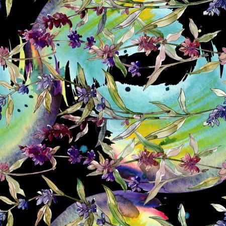 Photo pour Fleurs botaniques florales de lavande pourpre. Fleur sauvage sauvage de feuille de source. Ensemble d'illustration d'aquarelle. Aquarelle de dessin à l'aquarelle. Modèle de fond sans couture. Texture d'impression de papier peint de tissu. - image libre de droit