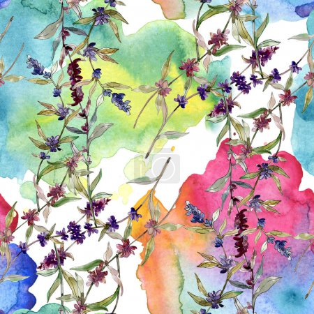 Photo for Purple lavender floral botanical flowers. Wild spring leaf wildflower. Watercolor illustration set. Watercolour drawing fashion aquarelle. Seamless background pattern. Fabric wallpaper print texture. - Royalty Free Image