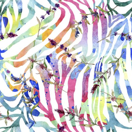 Foto de Flores botánicas florales de lavanda púrpura. Flor silvestre de la hoja de primavera wildflower. Conjunto de ilustraciones de acuarela. Acuarela dibujando moda acuarela. Patrón de fondo sin costuras. Textura de impresión de fondo de pantalla de tela. - Imagen libre de derechos