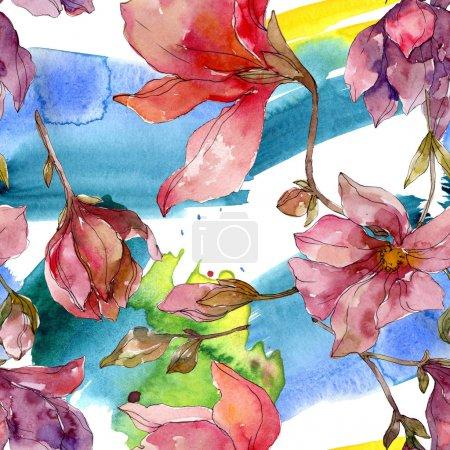 Photo pour Camelia fleurs botaniques florales. Feuille de printemps sauvage fleur sauvage. Ensemble d'illustration aquarelle. Aquarelle dessin mode aquarelle. Modèle de fond sans couture. Texture d'impression papier peint tissu . - image libre de droit