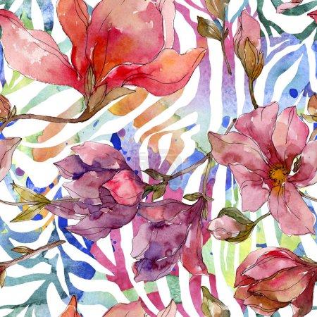 Foto de Flores botánicas florales de Camelia. Flor silvestre de la hoja de primavera wildflower. Conjunto de ilustraciones de acuarela. Acuarela dibujando moda acuarela. Patrón de fondo sin costuras. Textura de impresión de fondo de pantalla de tela. - Imagen libre de derechos