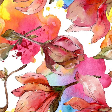 Photo pour Fleurs botaniques florales de Camelia. Fleur sauvage sauvage de feuille de source. Ensemble d'illustration d'aquarelle. Aquarelle de dessin à l'aquarelle. Modèle de fond sans couture. Texture d'impression de papier peint de tissu. - image libre de droit