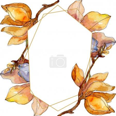 Photo pour Fleurs botaniques florales de Camelia. Fleur sauvage de neige sauvage de feuille de source d'isolement. Ensemble d'illustration de fond d'aquarelle. Aquarelle de mode de dessin d'aquarelle d'aquarelle d'aquarelle. Carré d'ornement de bordure de cadre. - image libre de droit