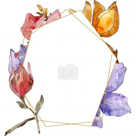 Photo for Camelia floral botanical flowers. Wild spring leaf wildflower isolated. Watercolor background illustration set. Watercolour drawing fashion aquarelle isolated. Frame border ornament square. - Royalty Free Image