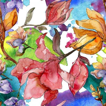 Foto de Camelia flores botánicas florales. Flor silvestre de hoja de primavera. Juego de ilustración en acuarela. Acuarela dibujo moda aquarelle. Patrón de fondo sin costuras. Textura de impresión de papel pintado de tela . - Imagen libre de derechos