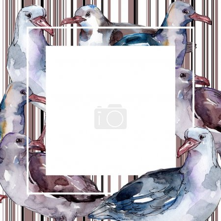 Photo for Sky bird seagull in a wildlife isolated. Wild freedom, bird with a flying wings. Watercolor background illustration set. Watercolour drawing fashion aquarelle. Frame border ornament square. - Royalty Free Image