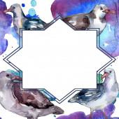 """Постер, картина, фотообои """"Чайка небесной птицы в изолированной дикой природе. Дикая свобода, птица с летающими крыльями. Набор фоновых иллюстраций акварели. Акварель рисунок моды акварели. Рама границы орнамент площади."""""""
