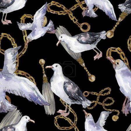 Photo pour Ciel oiseau mouette dans une faune sauvage. Liberté sauvage, oiseau aux ailes volantes. Ensemble d'illustration aquarelle. Aquarelle dessin mode aquarelle. Modèle de fond sans couture. Texture d'impression papier peint tissu . - image libre de droit