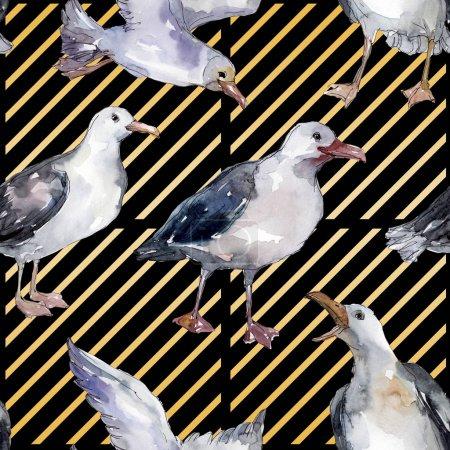 Photo pour Mouette d'oiseau de ciel dans une faune. Liberté sauvage, oiseau avec des ailes volantes. Ensemble d'illustration d'aquarelle. Aquarelle de dessin à l'aquarelle. Modèle de fond sans couture. Texture d'impression de papier peint de tissu. - image libre de droit