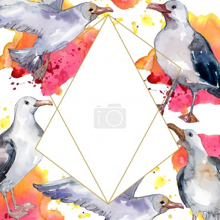 Photo for Sky bird seagull in a wildlife. Wild freedom, bird with a flying wings. Watercolor background illustration set. Watercolour drawing fashion aquarelle isolated. Frame border ornament square. - Royalty Free Image