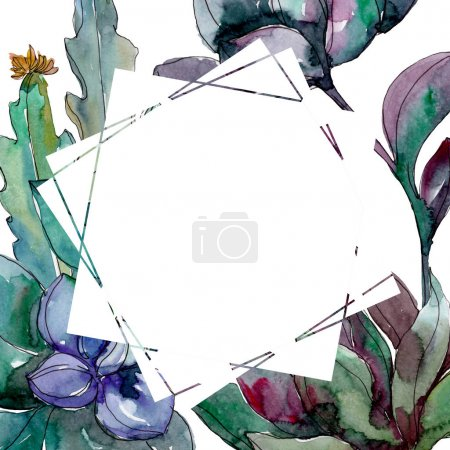 Photo for Succulents floral botanical flowers. Wild spring leaf wildflower isolated. Watercolor background illustration set. Watercolour drawing fashion aquarelle isolated. Frame border ornament square. - Royalty Free Image
