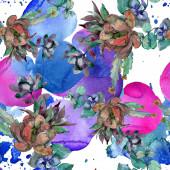 """Постер, картина, фотообои """"Суккуленты цветочные ботанические цветы. Дикий весенний лист полевых цветов. Набор иллюстраций акварели. Акварель рисунок моды акварели. Бесшовный фоновый шаблон. Ткань обои печати текстуры."""""""