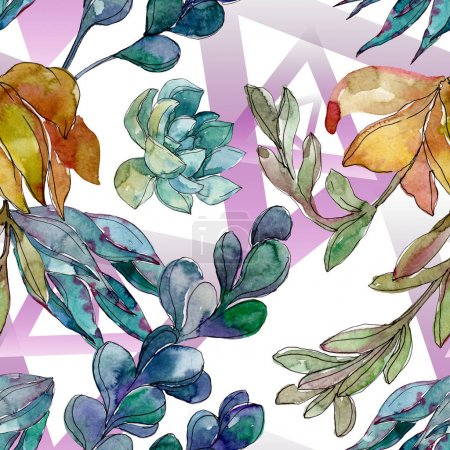 Succulents floral botanical flowers. Wild spring leaf wildflower. Watercolor illustration set. Watercolour drawing fashion aquarelle. Seamless background pattern. Fabric wallpaper print texture.