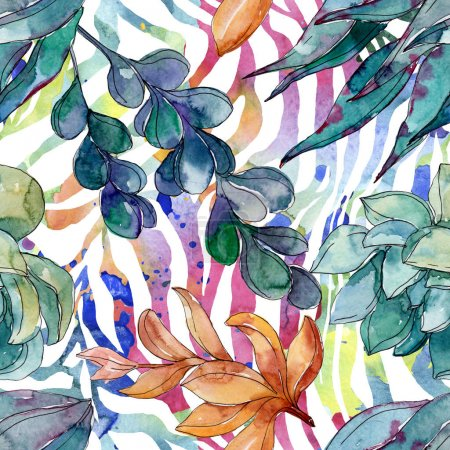 Photo for Succulents floral botanical flowers. Wild spring leaf wildflower. Watercolor illustration set. Watercolour drawing fashion aquarelle. Seamless background pattern. Fabric wallpaper print texture. - Royalty Free Image
