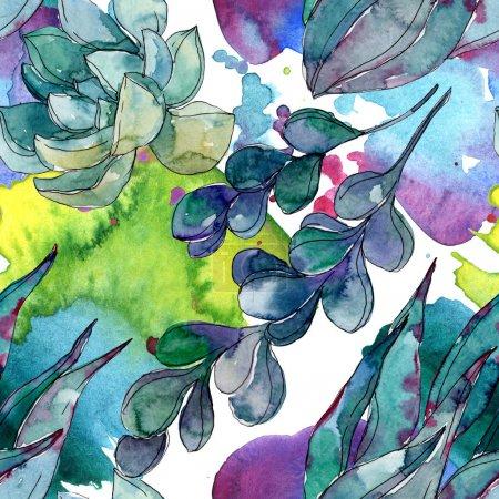 Foto de Suculentas flores botánicas florales. Flor silvestre de la hoja de primavera wildflower. Conjunto de ilustraciones de acuarela. Acuarela dibujando moda acuarela. Patrón de fondo sin costuras. Textura de impresión de fondo de pantalla de tela. - Imagen libre de derechos