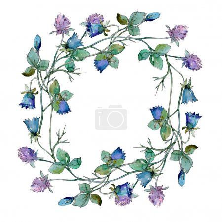 Photo for Wildflowers floral botanical flowers. Wild spring leaf wildflower isolated. Watercolor background illustration set. Watercolour drawing fashion aquarelle isolated. Frame border ornament square. - Royalty Free Image