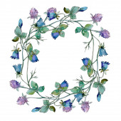 """Постер, картина, фотообои """"Полевые цветы цветочные ботанические цветы. Набор фоновых иллюстраций акварели. Рама границы орнамент площади."""""""