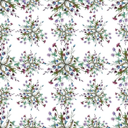 Photo for Wildflowers floral botanical flowers. Wild spring leaf wildflower. Watercolor illustration set. Watercolour drawing fashion aquarelle. Seamless background pattern. Fabric wallpaper print texture. - Royalty Free Image
