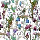 """Постер, картина, фотообои """"Полевые цветы цветочные ботанические цветы. Набор фоновых иллюстраций акварели. Бесшовный фоновый шаблон."""""""
