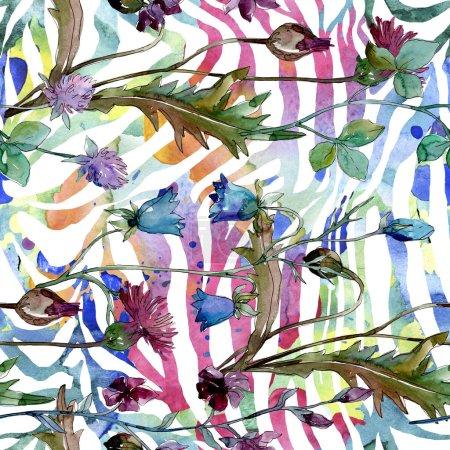 Foto de Flores silvestres flores botánicas florales. Flor silvestre de la hoja de primavera wildflower. Conjunto de ilustraciones de acuarela. Acuarela dibujando moda acuarela. Patrón de fondo sin costuras. Textura de impresión de fondo de pantalla de tela. - Imagen libre de derechos