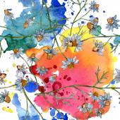 """Постер, картина, фотообои """"Полевые цветы цветочные ботанические цветы. Дикий весенний лист полевых цветов. Набор иллюстраций акварели. Акварель рисунок моды акварели. Бесшовный фоновый шаблон. Ткань обои печати текстуры."""""""