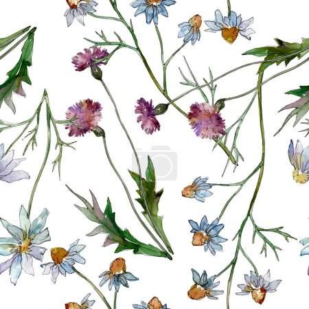 Wildflowers floral botanical flowers. Wild spring leaf wildflower. Watercolor illustration set. Watercolour drawing fashion aquarelle. Seamless background pattern. Fabric wallpaper print texture.
