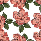 Beautiful vector roses Wild spring leaves Coral color engraved ink art Seamless background pattern Fabric wallpaper print texture