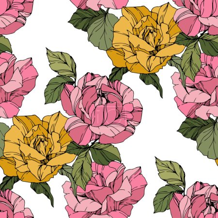 Illustration for Beautiful vector roses. Wild spring leaves. Pink and yellow  engraved ink art. Seamless background pattern. Fabric wallpaper print texture. - Royalty Free Image