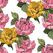 Beautiful vector roses Wild spring leaves Pink and yellow  engraved ink art Seamless background pattern Fabric wallpaper print texture