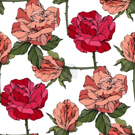 Illustration for Beautiful vector roses. Wild spring leaves. Coral and red engraved ink art. Seamless background pattern. Fabric wallpaper print texture. - Royalty Free Image
