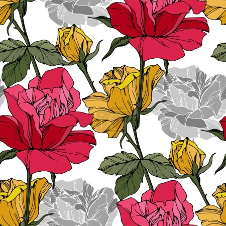 Illustration for Beautiful vector roses. Wild spring leaves. Red and yellow engraved ink art. Seamless background pattern. Fabric wallpaper print texture. - Royalty Free Image