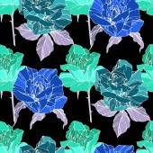 Beautiful vector roses Wild spring leaves Green and blue engraved ink art Seamless background pattern Fabric wallpaper print texture