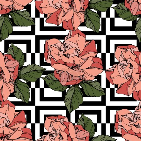 Illustration for Beautiful vector roses. Wild spring leaves. Coral color engraved ink art. Seamless background pattern. Fabric wallpaper print texture. - Royalty Free Image