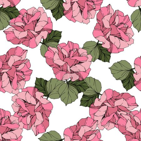 Illustration for Beautiful vector roses. Wild spring leaves. Pink engraved ink art. Seamless background pattern. Fabric wallpaper print texture. - Royalty Free Image