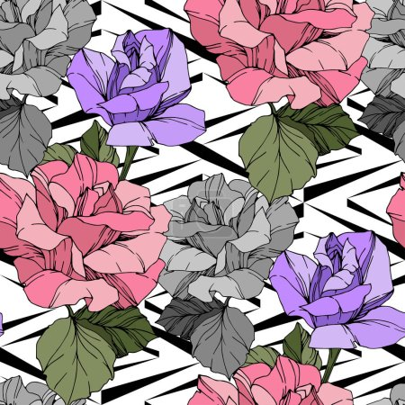 Illustration for Beautiful vector roses. Wild spring leaves. Pink and purple engraved ink art. Seamless background pattern. Fabric wallpaper print texture. - Royalty Free Image