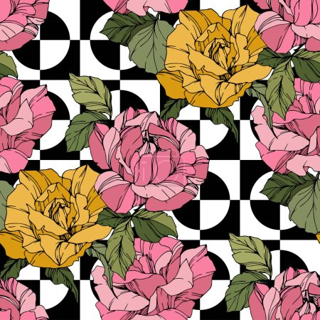 Illustration for Beautiful vector roses. Wild spring leaves. Coral and yellow engraved ink art. Seamless background pattern. Fabric wallpaper print texture. - Royalty Free Image