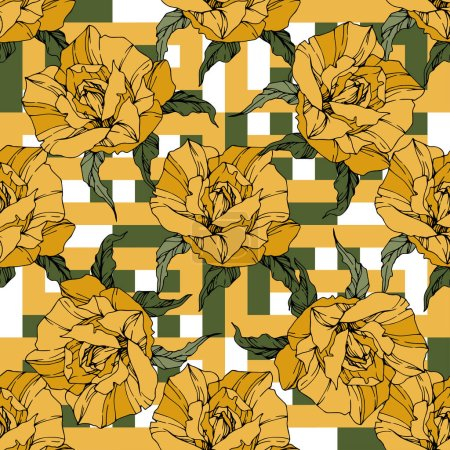Illustration for Beautiful vector roses. Floral botanical flowers. Wild spring leaves. Yellow color engraved ink art. Seamless background pattern. Fabric wallpaper print texture. - Royalty Free Image
