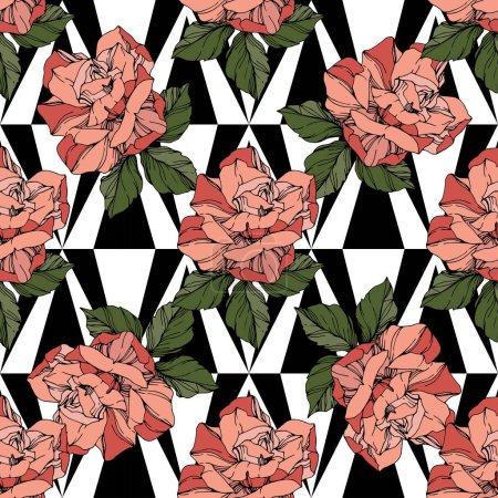 Illustration for Beautiful vector roses. Floral botanical flowers. Wild spring leaves. Coral color engraved ink art. Seamless background pattern. Fabric wallpaper print texture. - Royalty Free Image
