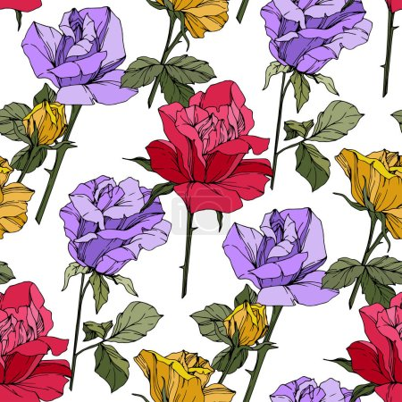 Illustration for Beautiful vector roses. Floral botanical flowers. Wild spring leaves. Red, yellow and purple engraved ink art. Seamless background pattern. Fabric wallpaper print texture. - Royalty Free Image