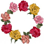 Vector Roses Floral botanical flowers Wild spring leaves Red pink and yellow engraved ink art Frame border ornament wreath