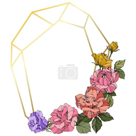 Illustration for Vector Roses. Floral botanical flowers. Coral, pink and yellow engraved ink art. Frame golden crystal. Geometric polygon crystal shape. - Royalty Free Image