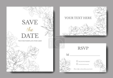 White cards with rose flowers. Wedding cards with ...